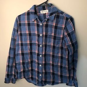 Madewell woman's blue flannel shirt button down